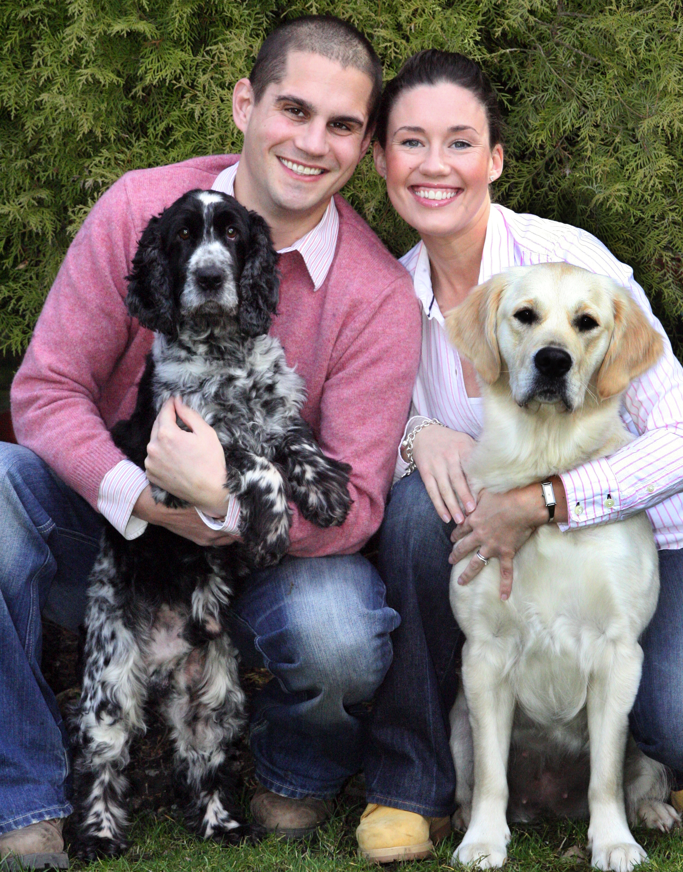 Lisa Suswain with husband Jim and their dogs.