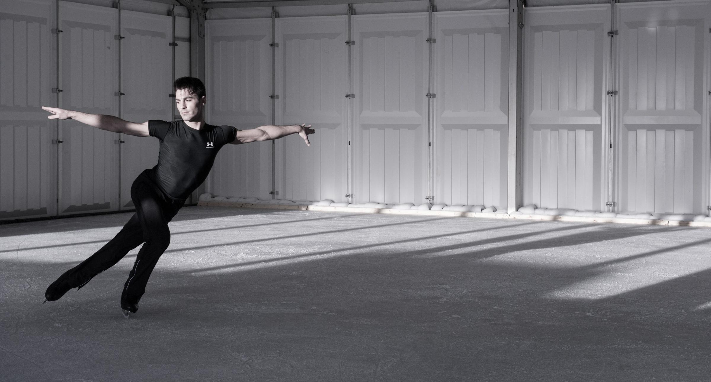 Michael Solonoski in rehearsal for Robin Cousins' Ice
