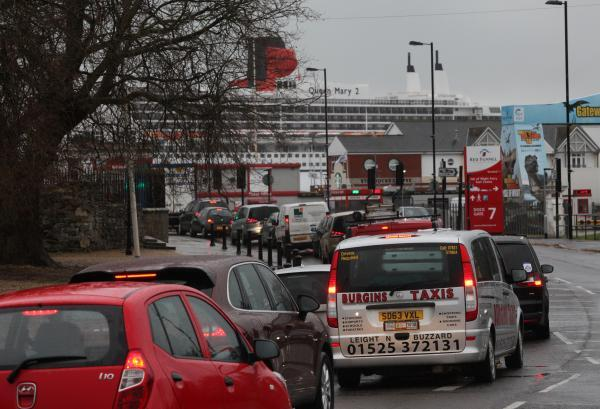 Daily Echo: Traffic on Town Quay earlier today.