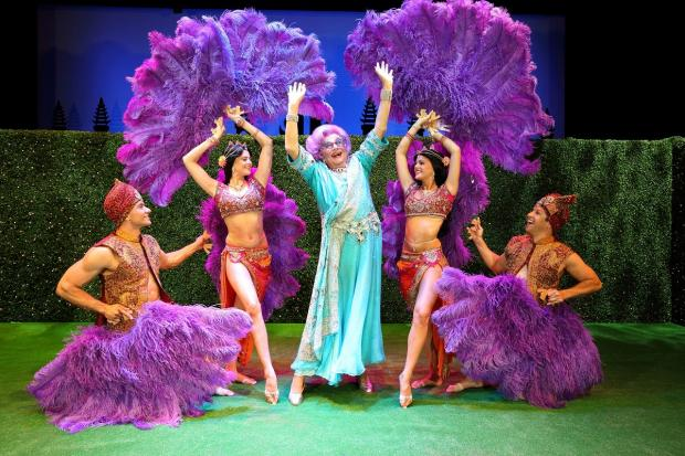 Dame Edna on stage in Eat, Pray, Laugh