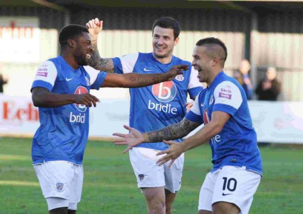 Jai Reason, right, scores Eastleigh's opener