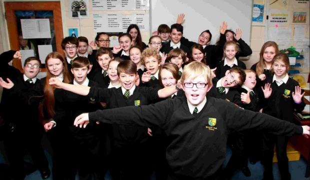 Daily Echo: Year seven pupil Sam Hall with his Bitterne Park School classmates