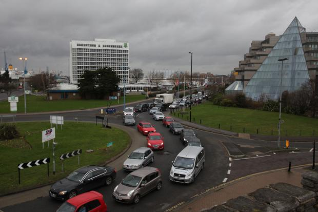 GRIDLOCK: Motorists faced three-hour delays on roads in Southampton on Friday