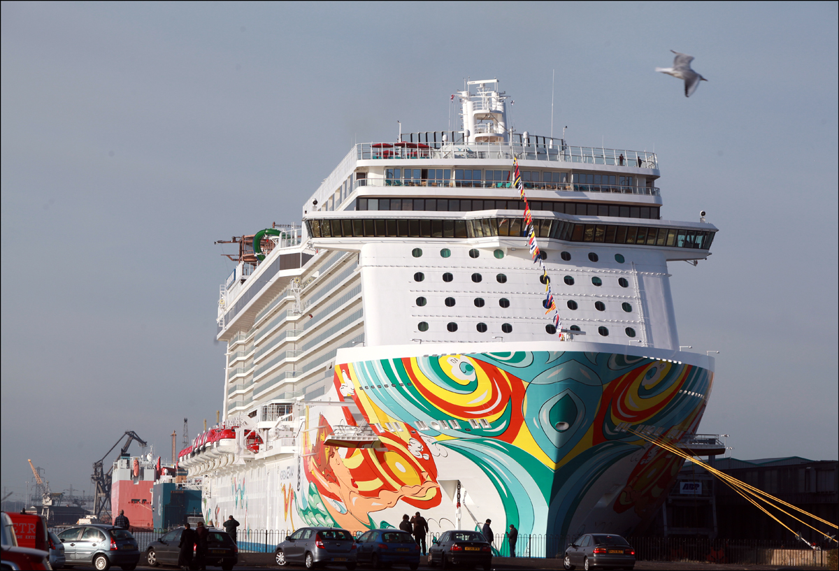 The Norwegian Getaway in Southampton docks today.