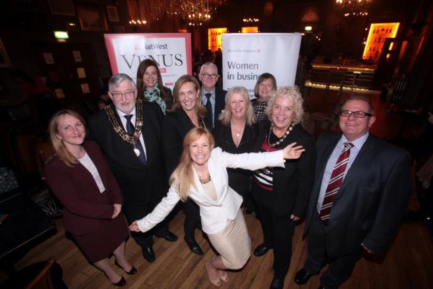 Awards organiser Tara Howard, centre, with event sponsors and Southampton mayor Ivan White.