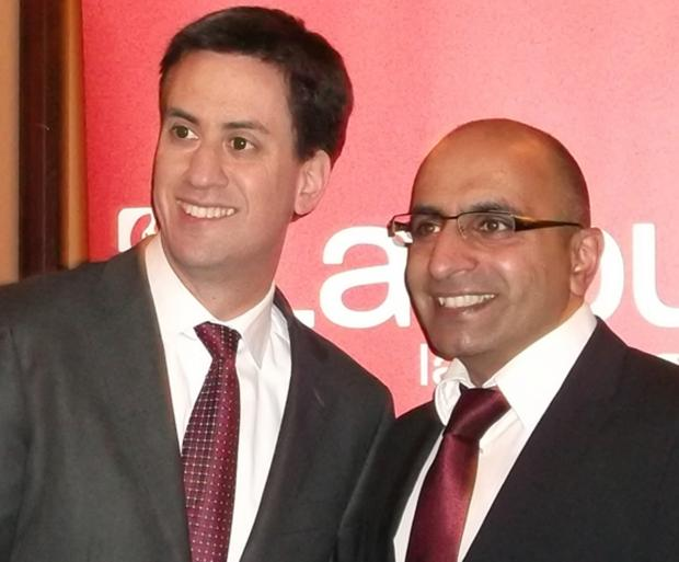 Terror victim Del Singh with Labour leader Ed Miliband