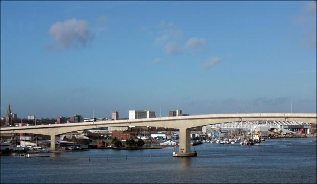 Daily Echo: The Itchen Bridge, Southampton, is to close for five nights.