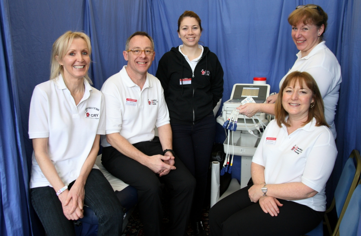 The Cardiac Risk in the Young (CRY) team, from left, Sue Brown, screening manager Tony Hill, Gemma Harper, Kate Dougal, Julia Suggit.