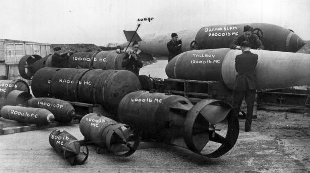 RAF Bombs, including Grand Slam (back right) and Tall Boy.