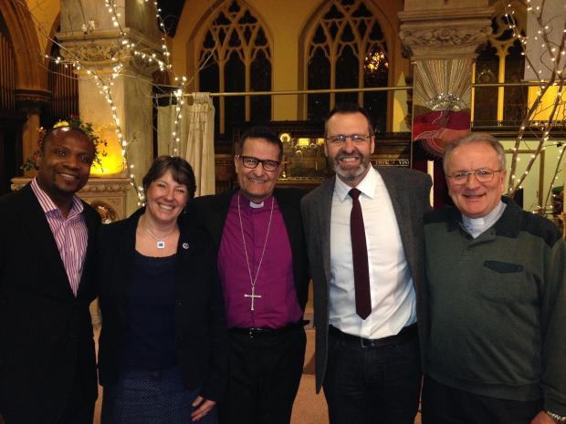 Dr John Paul Oddoye, Mandy Harding, the Bishop of Southampton, Billy Kennedy and Monsignor Vincent Harvey