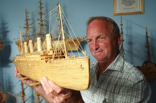 David Reynolds with his model of 1902 square rigger Preussen.
