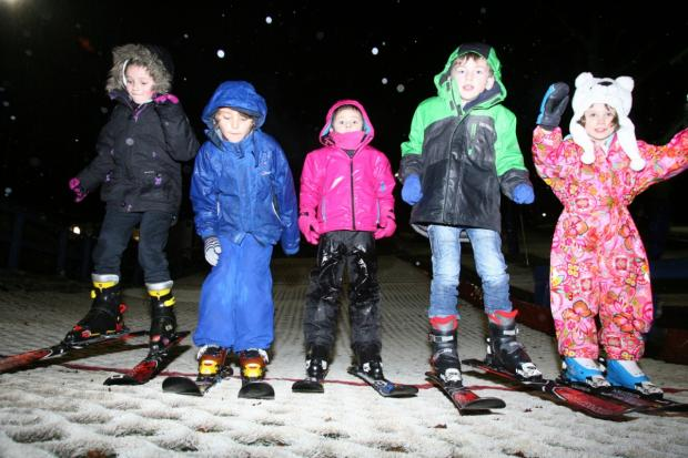 Junior skiers Sophia, 7, Oriol, 7, Lucy, 5, George, 6, and Freya, 5.