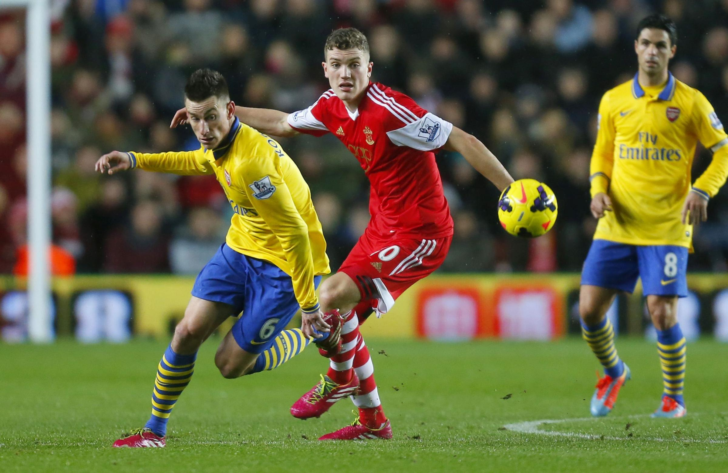 Sam Gallagher in action against Arsenal