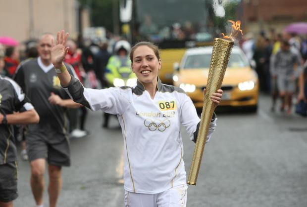Alice Constance with the Olympic Torch in Southampton in 2012