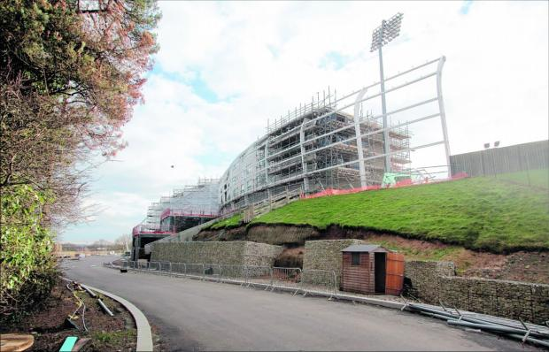 Daily Echo: The Hilton Hotel at the Ageas Bowl, where building work has stopped.