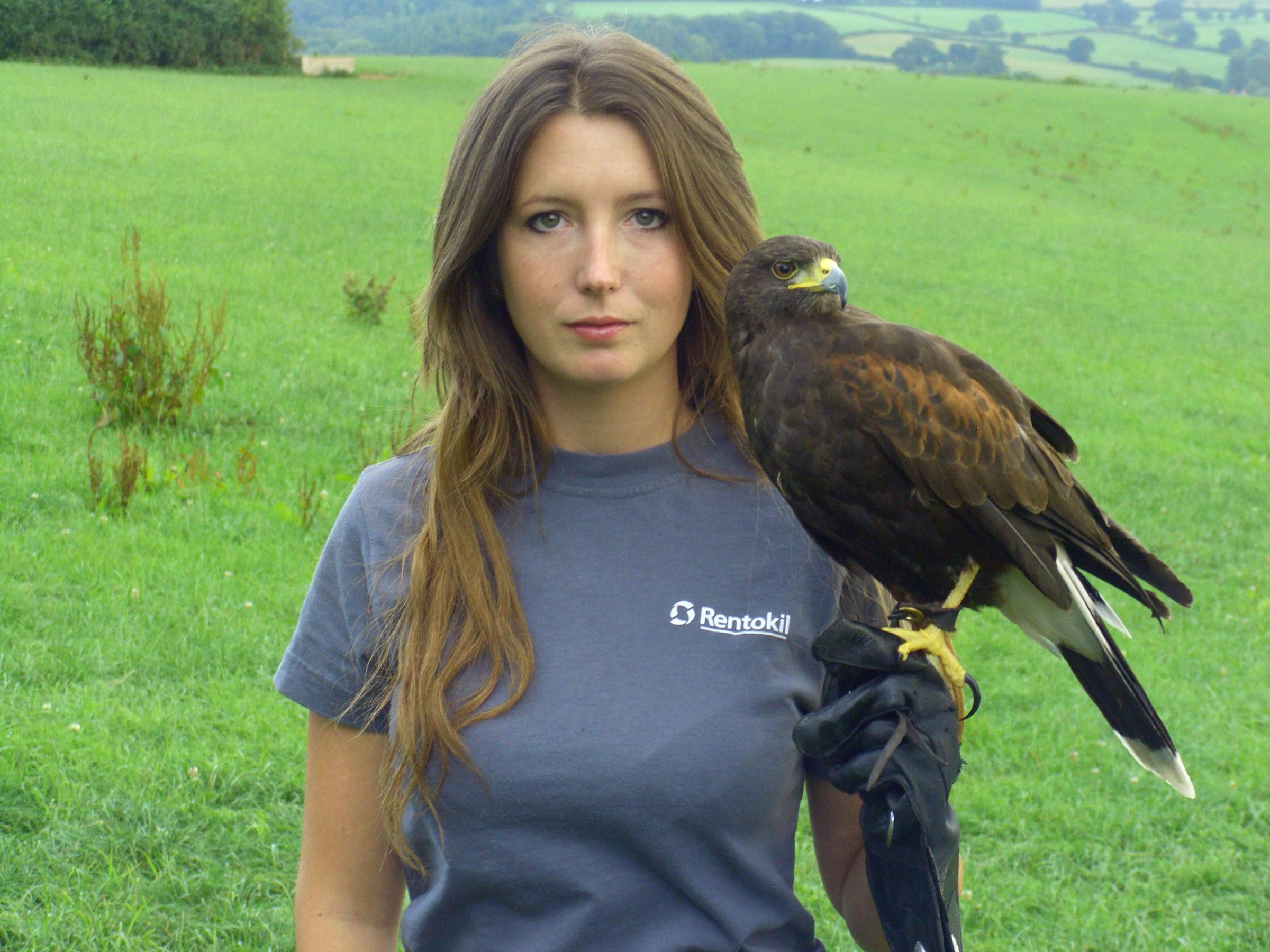 Layla Bennett with her Harris Hawk Hope