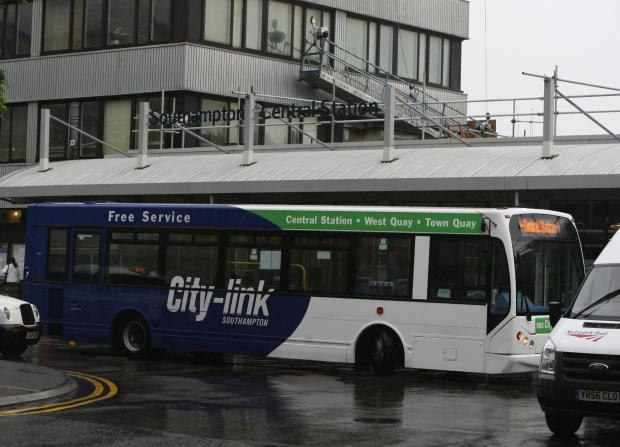 Daily Echo: A City Link bus at Southampton Central Station