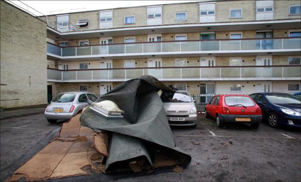 Roof blown off block of flats
