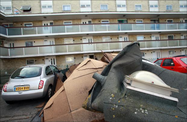 Winds rip roof off flats in Southampton