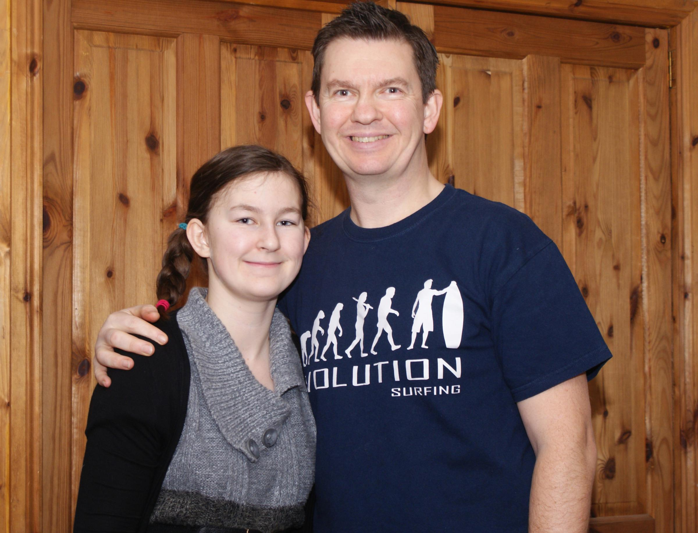 Kevin Winchcombe with his daughter Amy, who has diabetes