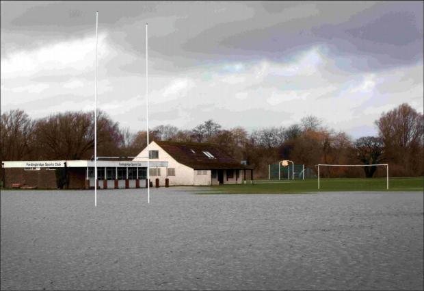 Daily Echo: Fordingbridge Sports Club was just one of the local grounds under water on Saturday.