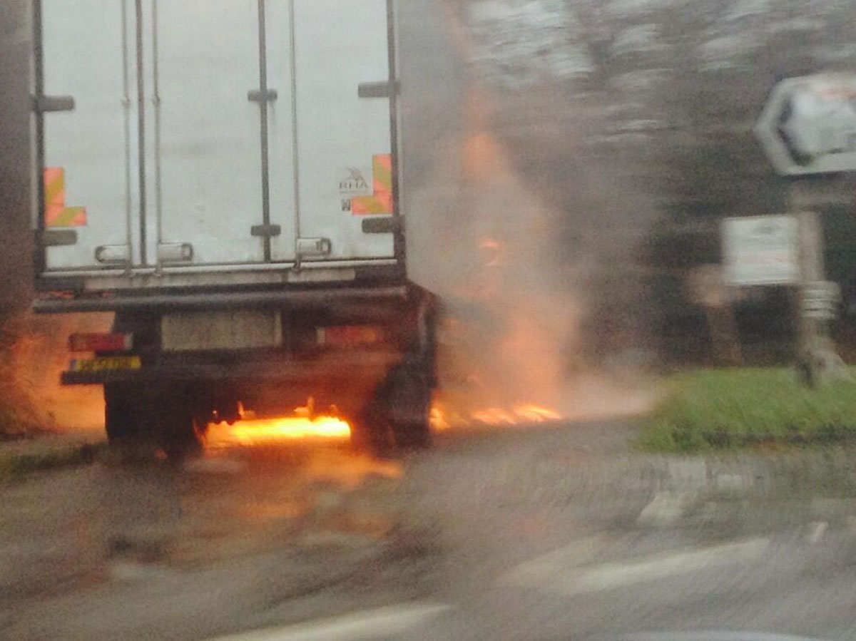 Driver lucky to be alive after meat lorry catches fire