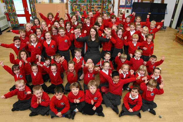 Pupils at Manor Church of England School raise a cheer for new head Michelle Hale