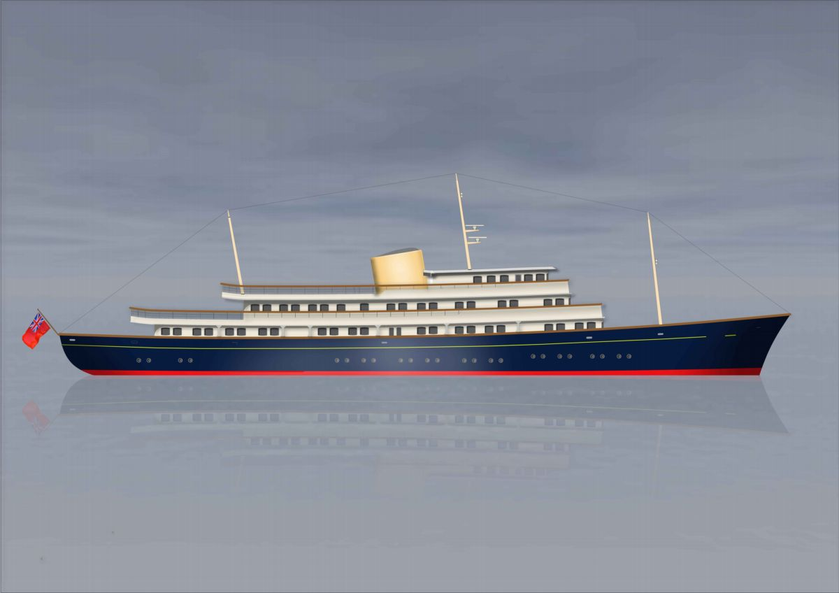 An artist's impression of the superyacht.