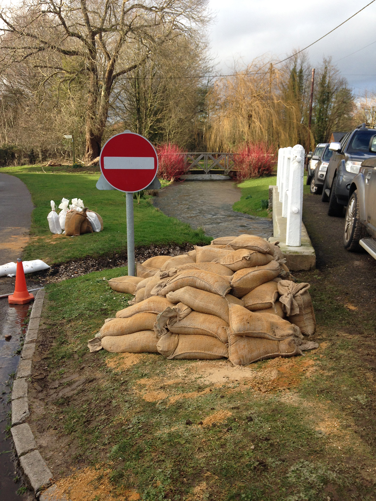 Sandbags were left dotted all over Hampshire following February's flooding