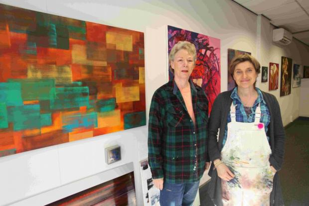 POP-UP ART: Artists Diane Rush and Caroline Hall, who have opened a pop-up art gallery in Winchester.