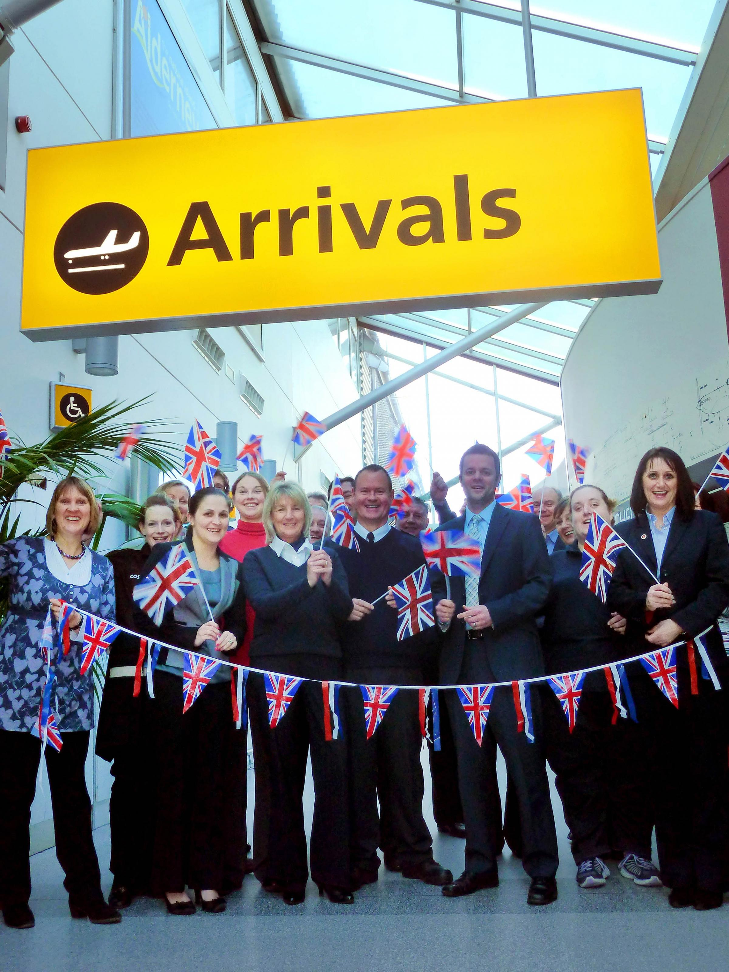 Airport staff celebrate being named top in the UK.
