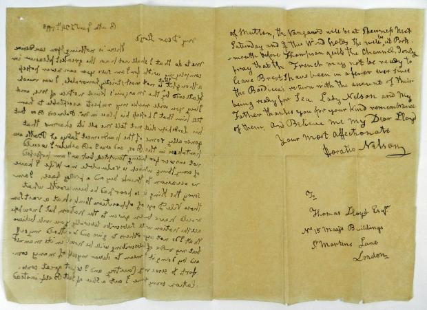 Handwritten letter by Nelson up for auction