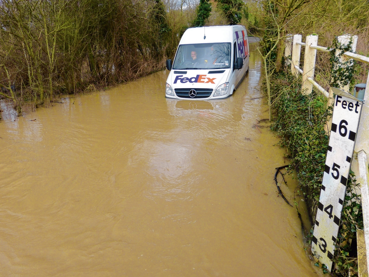A van trapped in flood water