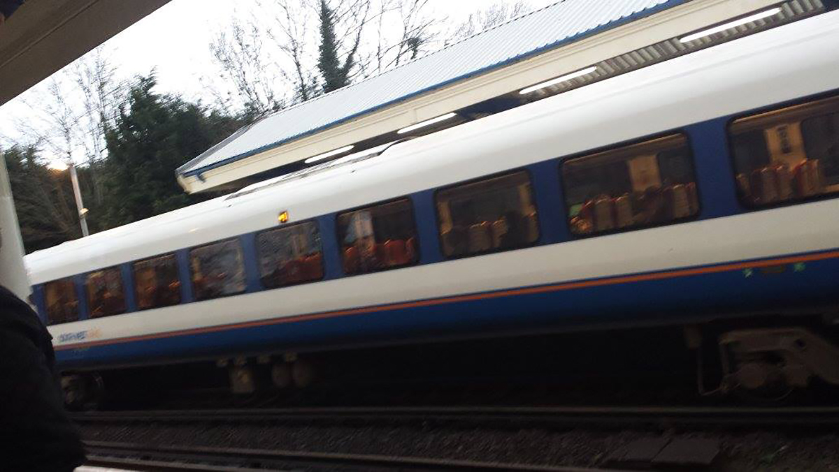 More than a hundred passengers stranded on train. Reader's photo from the scene.