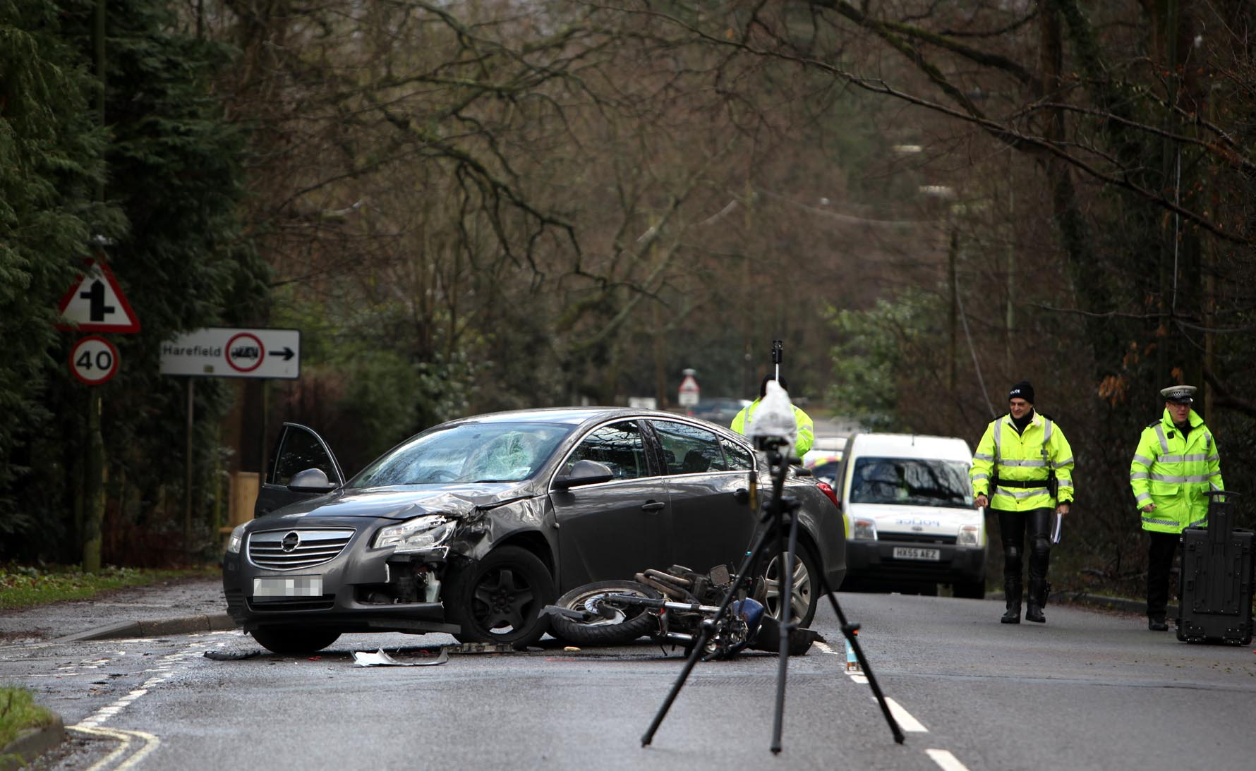 Scene of fatal motocycle crash at junction of Moorhill Road and Southern Road in West End