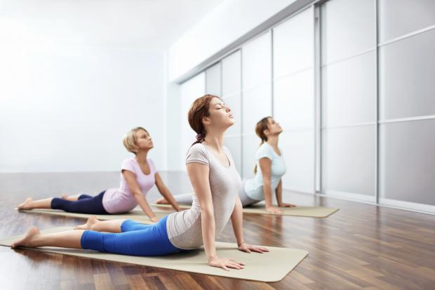 A pilates class - posed by models