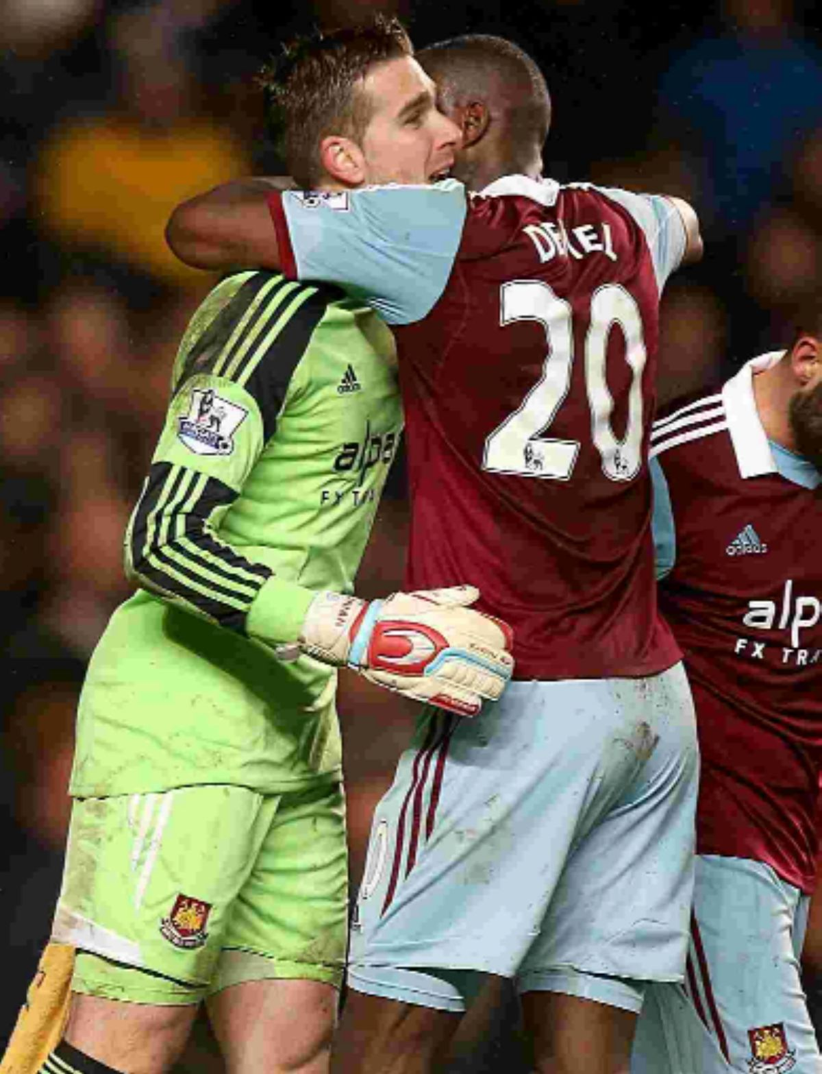 Keeper Adrian is congratulated for A SAVE AGAINST cHELSEA