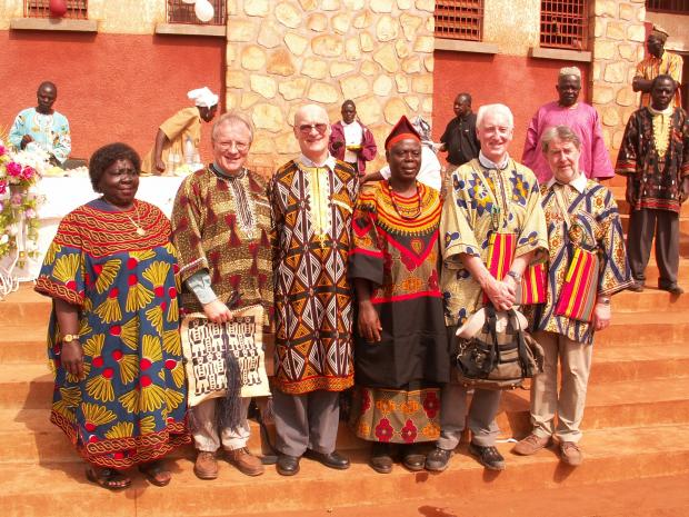 Monsignor Vincent Harvey and other Diocese of Portsmouth representatives visit a water catchment project in Cameroon