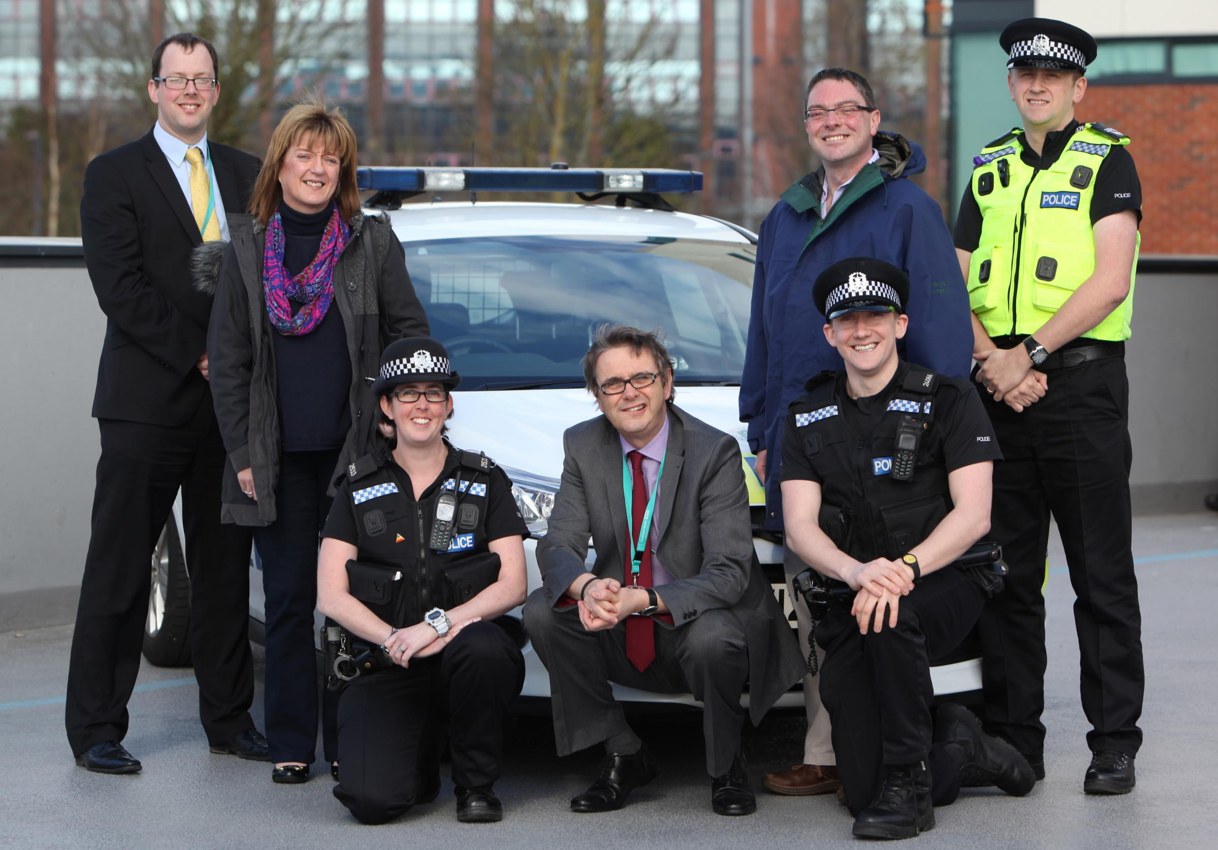 James Barton, Valerie Walsh, PC Sarah Humphries,  access and assessment manager Colin Edwards, PC Tom Cottrell, senior nurse practitioner Jon Lomax and Sgt Paul Southam at the launch of Operation Serenity.
