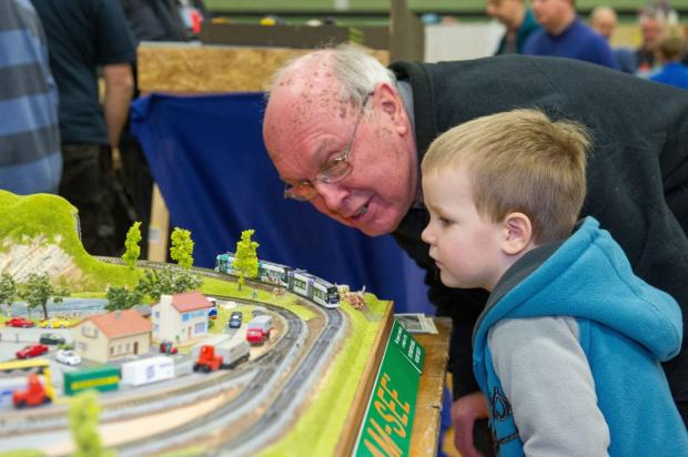 Model railway fans Clive Welsteed and Josh Vail.