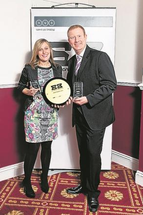 FLASHBACK: Tom Manville, manager of the University of Winchester Students' Union, and Gemma Taylor, events and marketing manager, with their Best Bar None award.