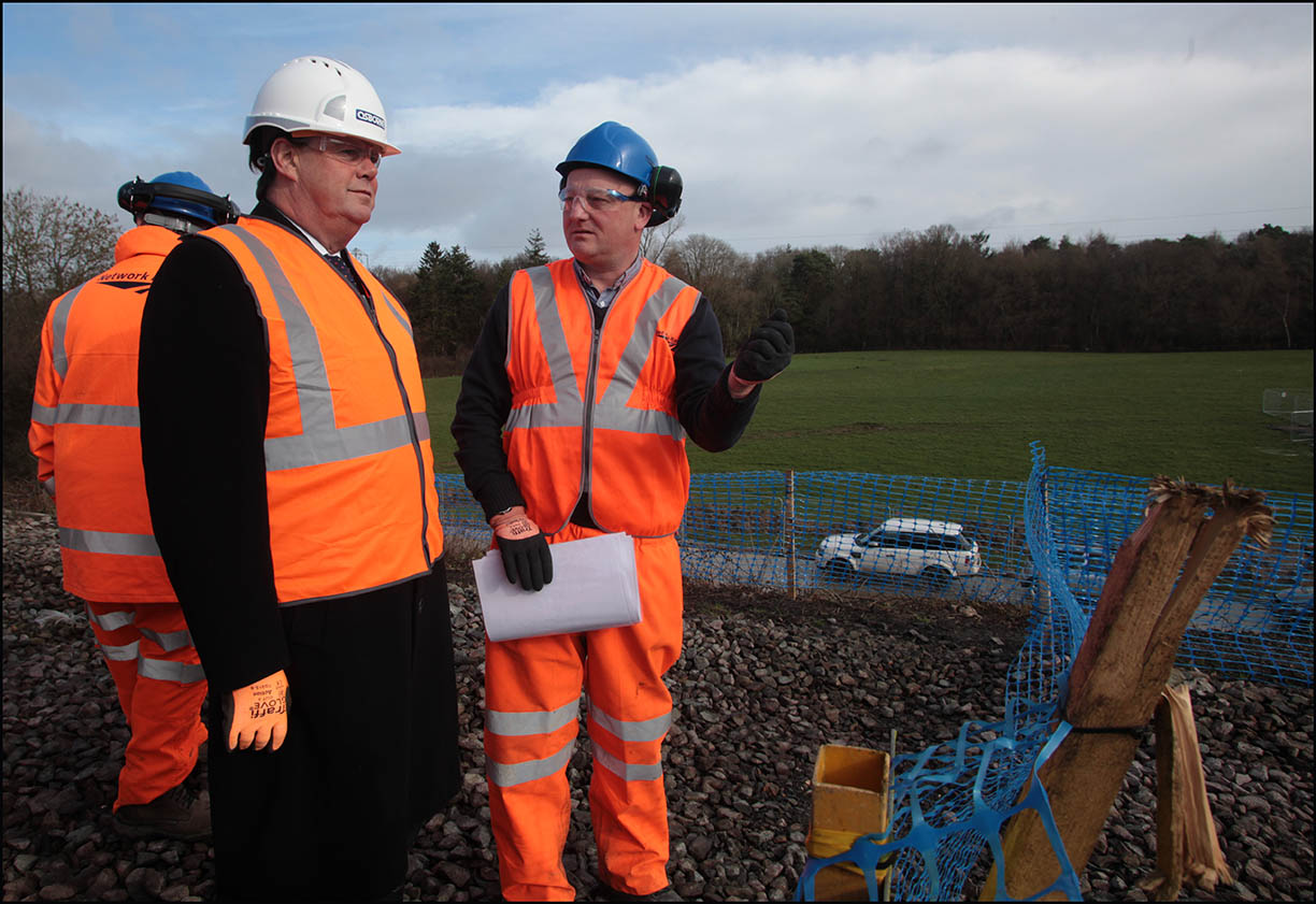 Stephen Hammond (left) at the railway landslip