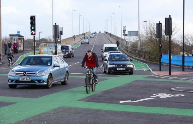 Daily Echo: The new bike-friendly junction at the Itchen Bridge/Saltmarsh road junction in Southampton