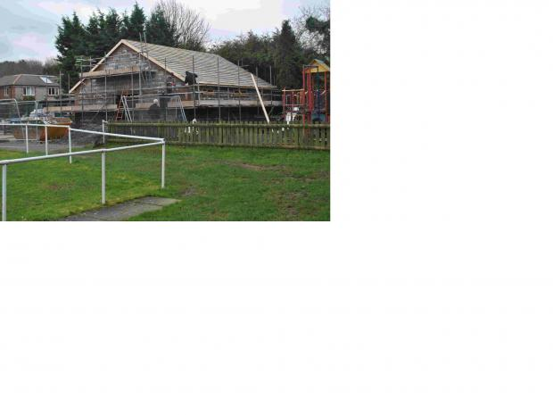 UNDER CONSTRUCTION: The wet weather has delayed the work on Stockbridge's new clubhouse