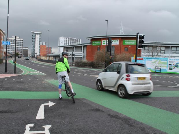 The new cycle-friendly junction on the Itchen Bridge/Central Bridge intersection in Southampton