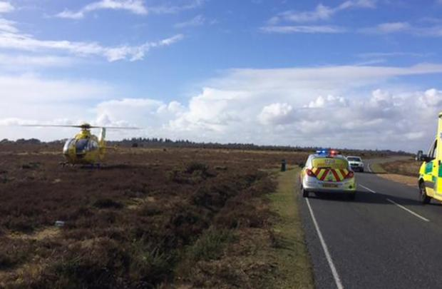The Air Ambulabce at the scene of the incident in the New Forest