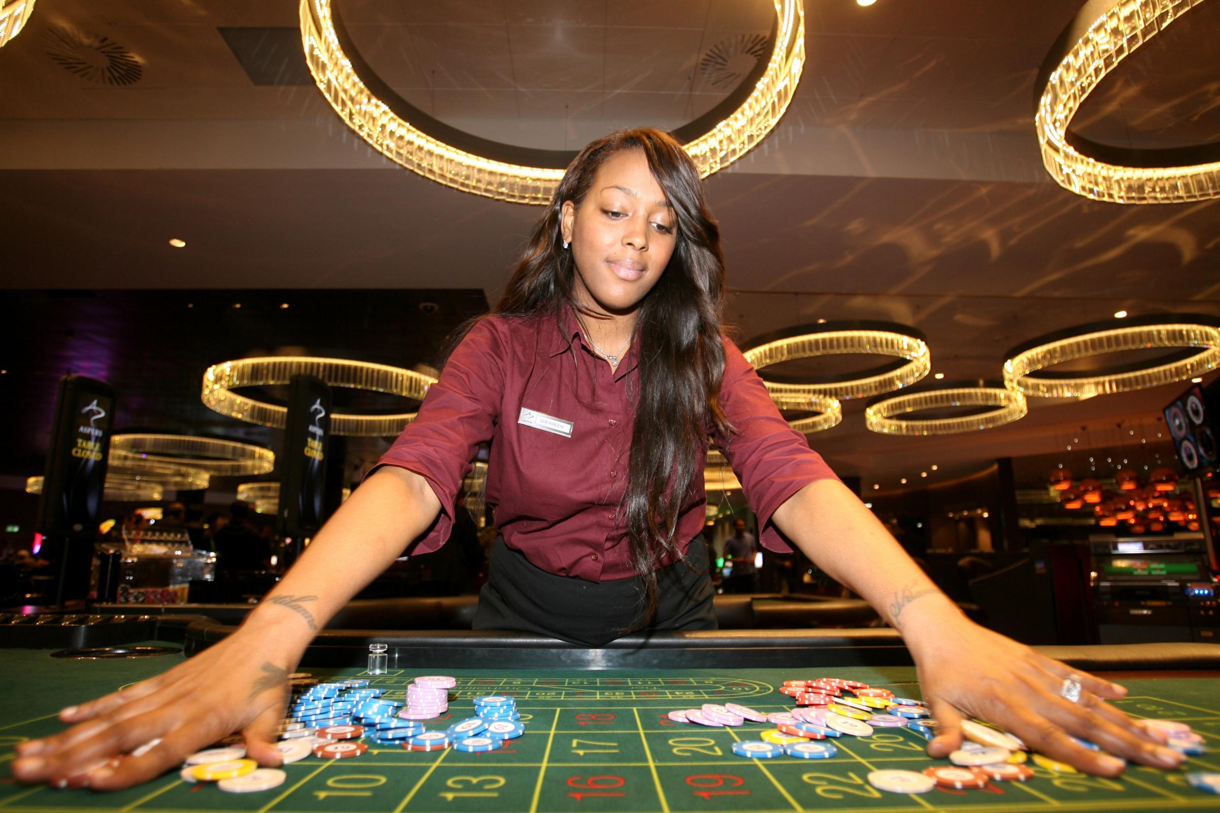 Dealer Sherreen at one of the tables in Aspers Casino in London