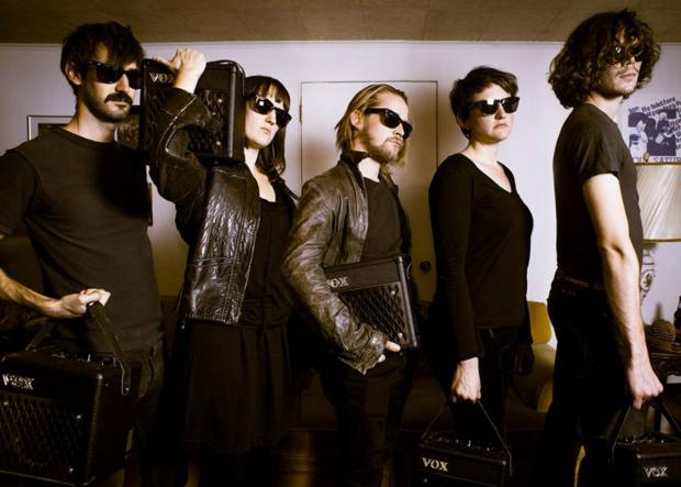 Daily Echo: Macauley Culkin's band  The Pizza Underground, he is pictured,in the centre..