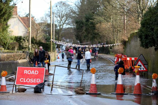 The day of the duck race on the A272 when it was shut due to flooding