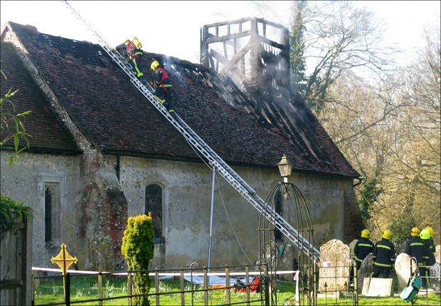 Timsbury church: damaged by fire today Picture by Simon Rowley